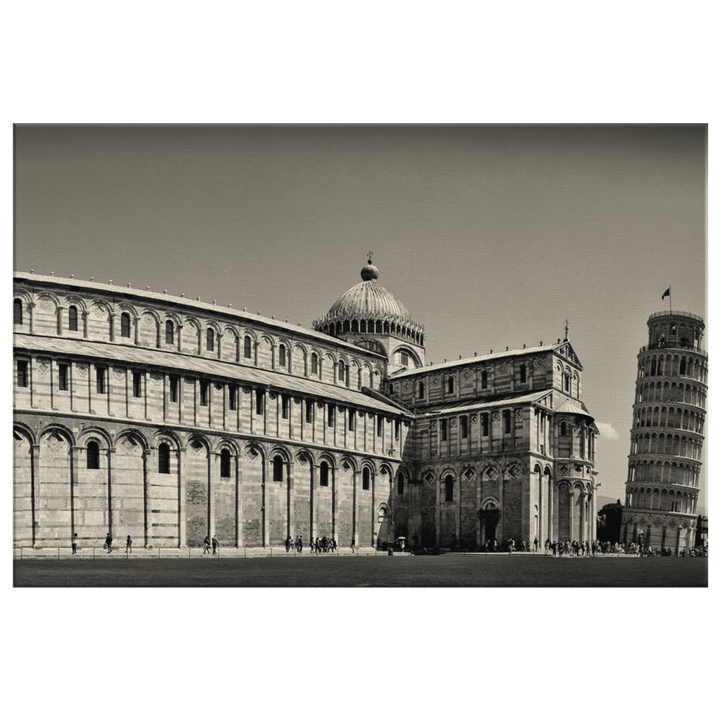 Vintage World Wonder Pisa Tower Framed Canvas Photo Print