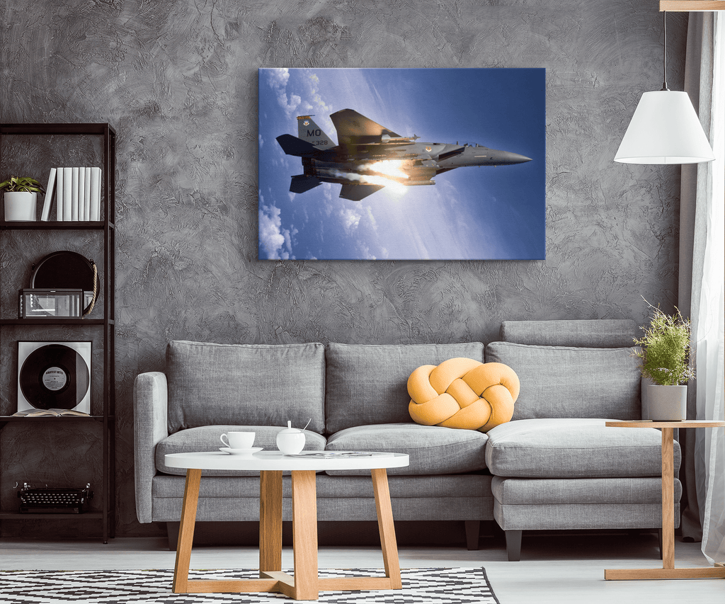 Military Aircraft F15 Eagle Framed Canvas Photo Print