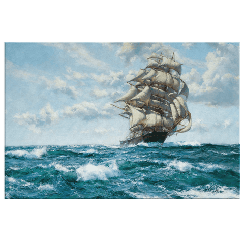 Sailing Ship Ocean Painting on Framed Canvas Art Print | Spanish Galleon Vintage Painting Sailor Gift