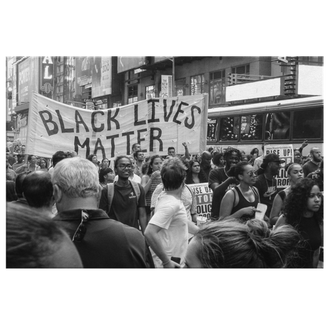 Black Lives Matter Protest 2020 Black and White Historical Photo Print on Framed Canvas Wall Art Hanging