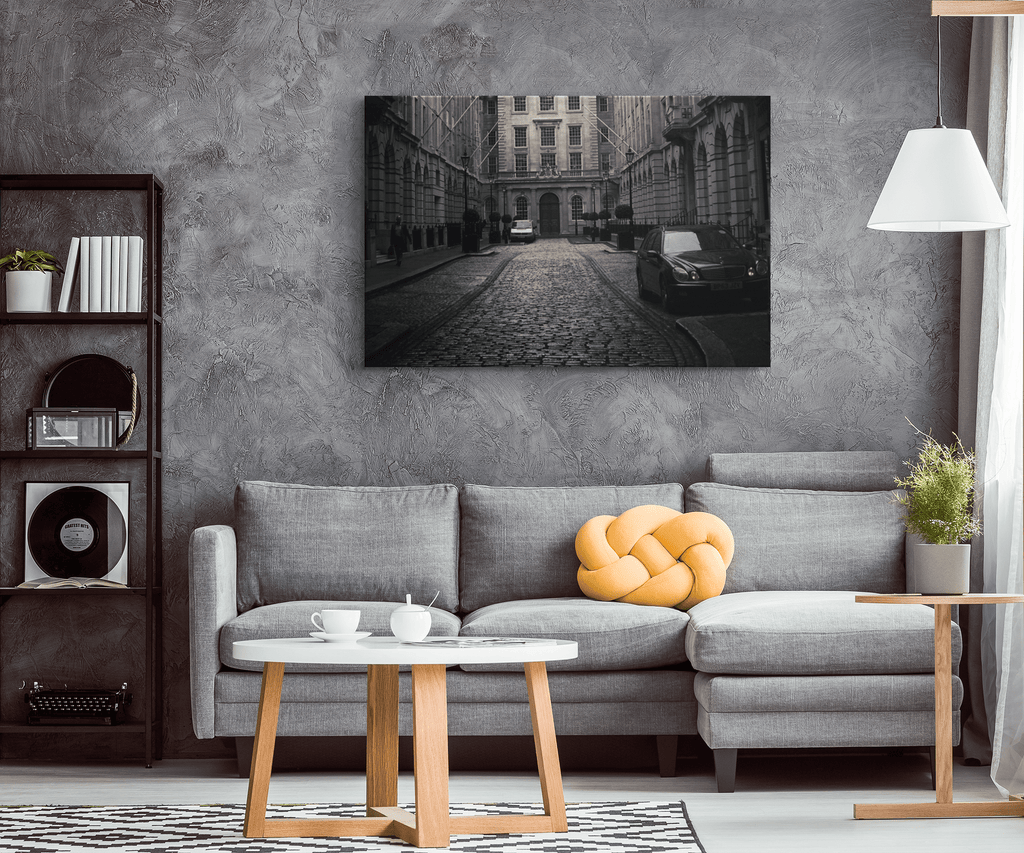 City Building Cultural Framed Canvas Black and White Photo Print | Contemporary Art Decor