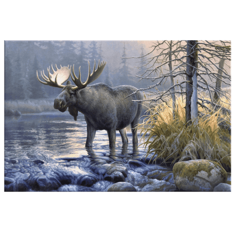 Moose Painting Vintage Animals Alaska Art Print