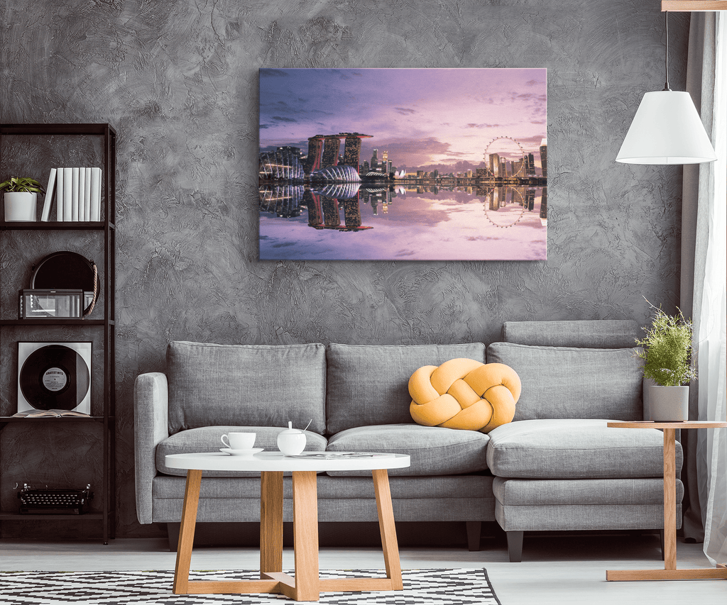 Beautiful Singapore City Sunset Reflection Photo Print on Framed Canvas Wall Art | Travel Decor