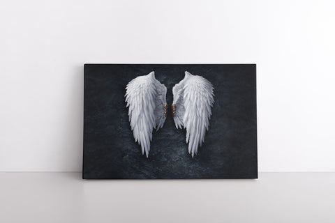 Banksy White Angel Wings on Framed Canvas Photo Print | Banksy Wall Art Clipped Wings