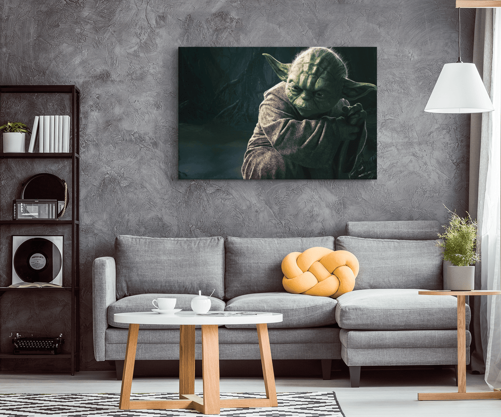 Jedi Master Yoda Star Wars Wall Art Print on Framed Canvas Wall Hanging | Star Wars Fan Gift