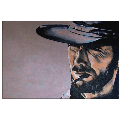 Clint Eastwood the Good, the Bad and the Ugly Movie Art on Framed Canvas Wall Art Print | Classic Western Movie Poster Fan Art