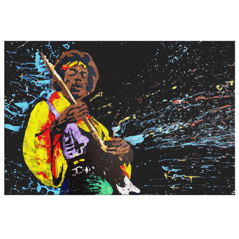 Jimi Hendrix Framed Canvas Wall Hanging | Classic Rock n Roll Guitar Music Art Painting Rock Star Painting Voodoo Child Purple Haze