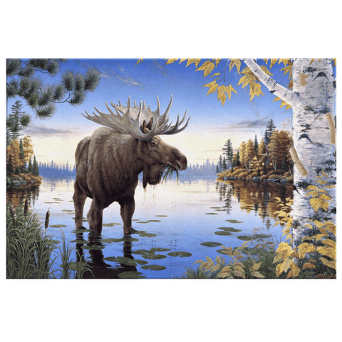 Moose Painting Wall Art Print on Framed Canvas | Nature Wilderness Wildlife Animals Home Decor