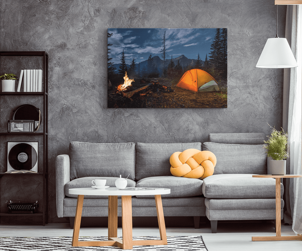 Wilderness Camping Forest Mountain + Campfire with Tent Framed Canvas Photo Print Wall Art | Outdoors Adventure Bushcraft Nature Lover Gift