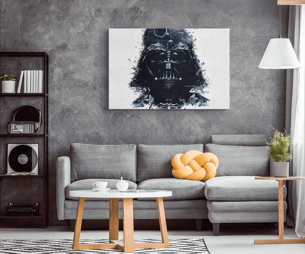 Darth Vader Death Star & Tie Fighters Collage on Framed Canvas Wall Art Photo Print | Star Wars Fan Art Gift