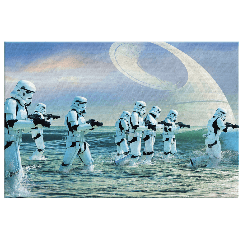 Star Wars Rogue One Storm Troopers Death Star Framed Canvas Wall Art Print