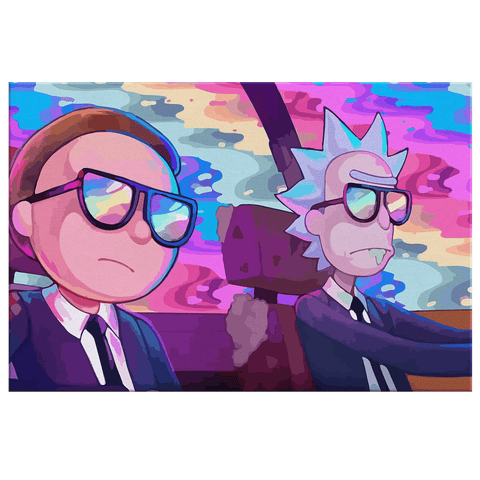 Rick and Morty Run The Jewels Fan Art Print on Framed Canvas Wall Hanging