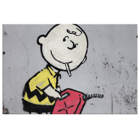 Banksy Charlie Brown Firestarter on Framed Canvas Wall Art Print | Funny Peanuts Cartoon Character Fan Art
