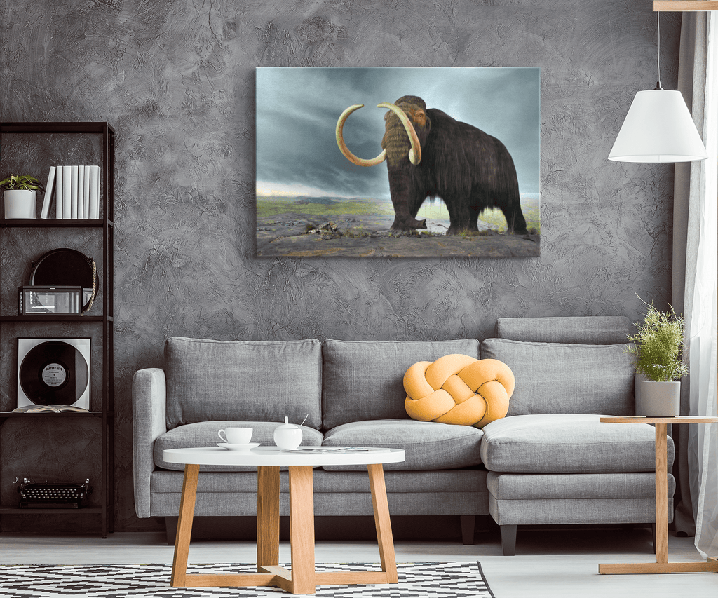 Woolly Mammoth Framed Canvas Wall Art Print | Wooly Mammoth Photo Print | Frozen Tundra Gift For Palaeontologist Gift | Paleontologist Kids