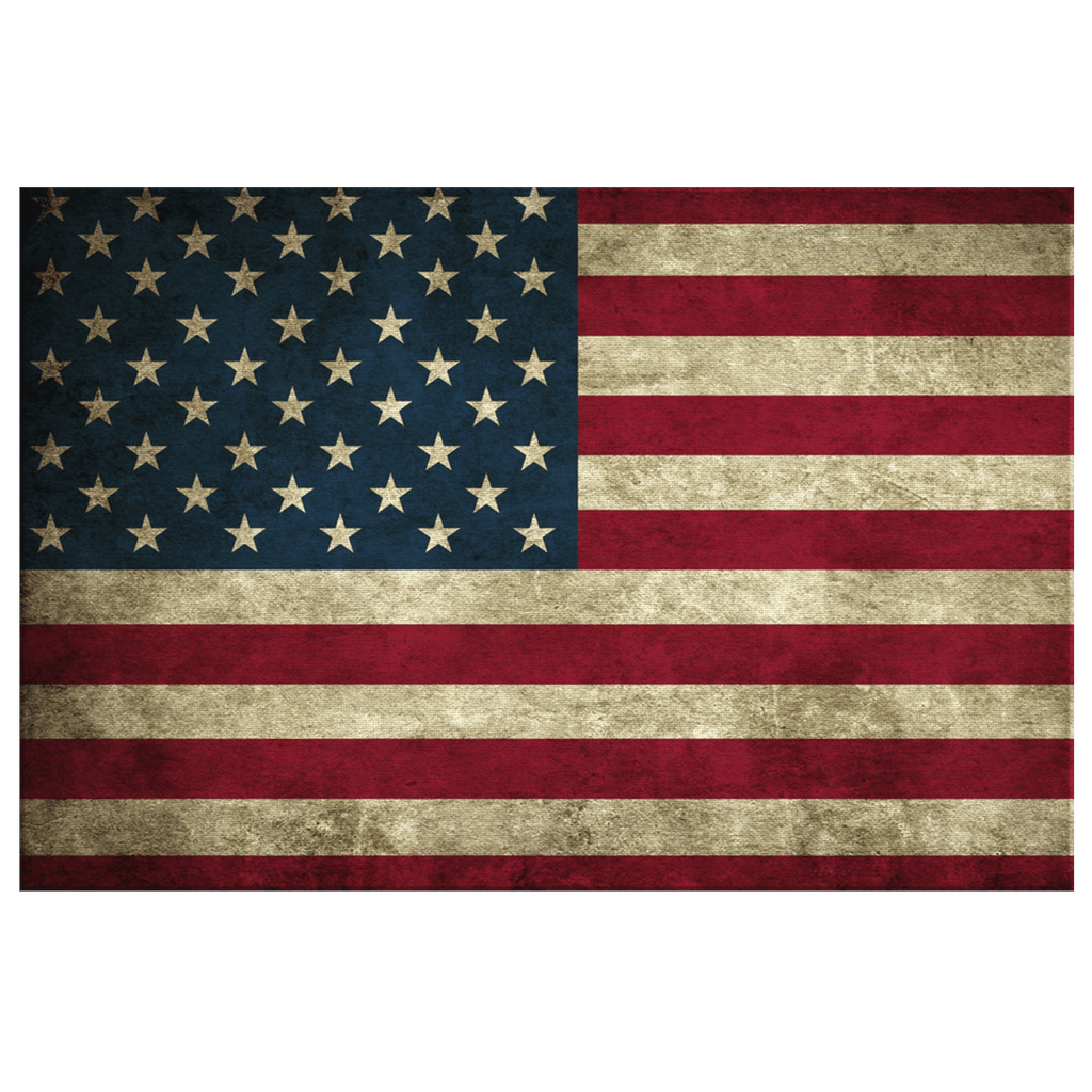 Grunge Flag of USA United States American Flag Patriotic Framed Canvas Wall Art Print