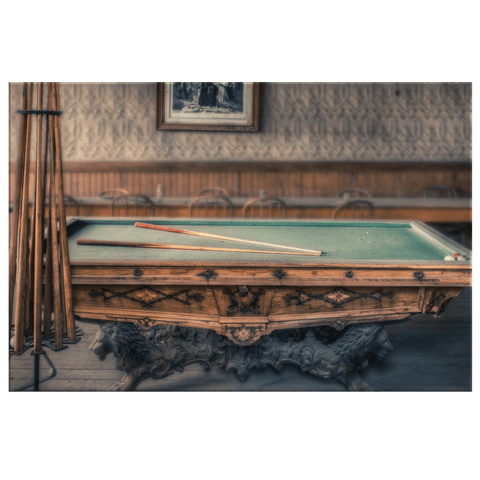 Vintage Billiards Pool Table Photo Print on Framed Canvas Wall Art | Pub & Pool Hall Decor