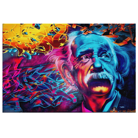 Albert Einstein Graffiti Street Art on Framed Canvas Wall Art Print | Colorful Scientist Fan Art Print