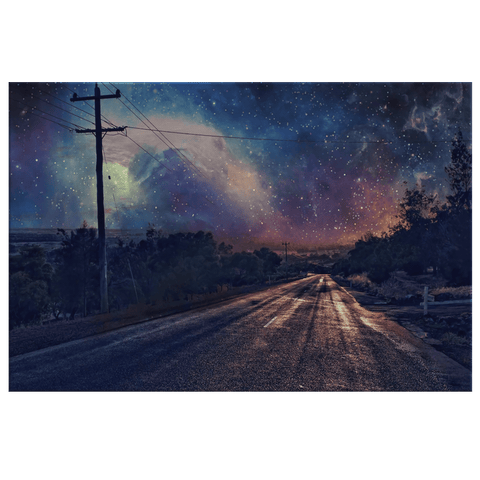 Country Road in Space Galaxy Fantasy Nature |  Framed Canvas Wall Art Print | Country Rural Fusion Art
