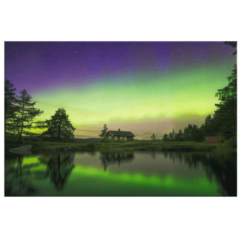 Norway Northern Lights Reflected in a Lake Framed Canvas Photo Print