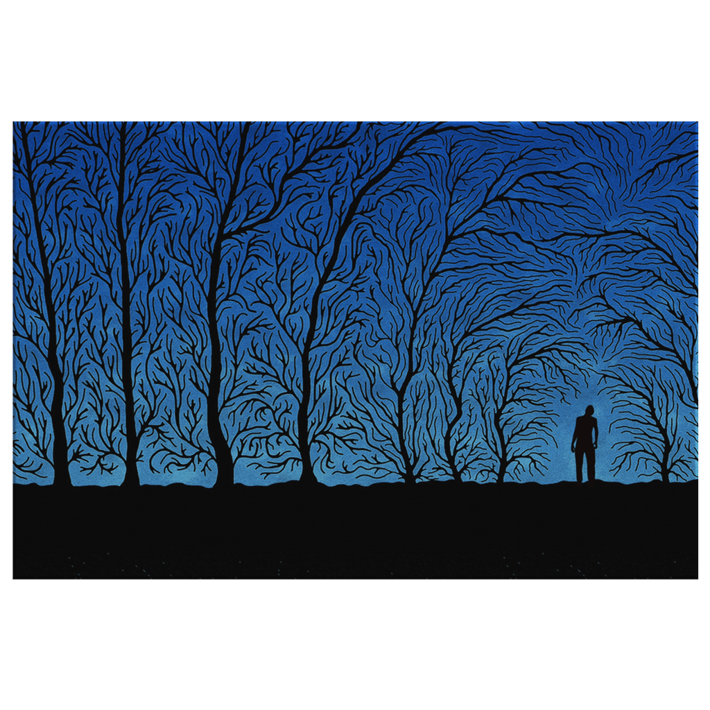 Blue Night Forest with Black Tree Silhouettes Scary Spooky Art Print on Framed Canvas Wall Art Decor