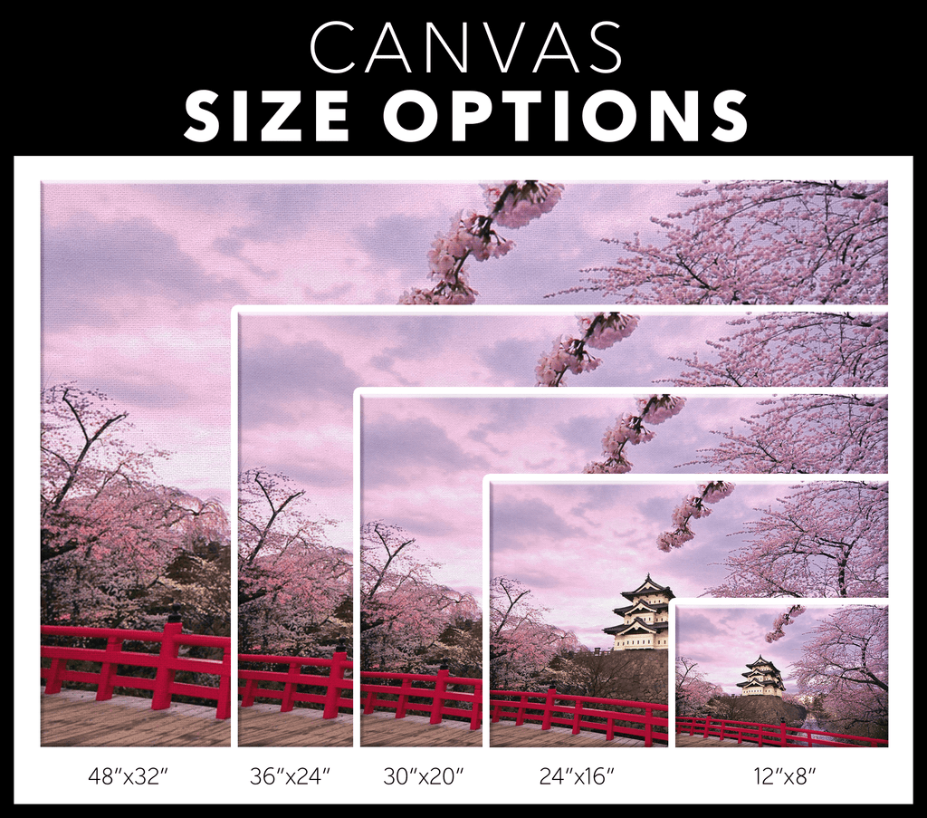 Japanese Beautiful Cherry Blossoms Painting on Framed Canvas Wall Art Print | Japan Temple