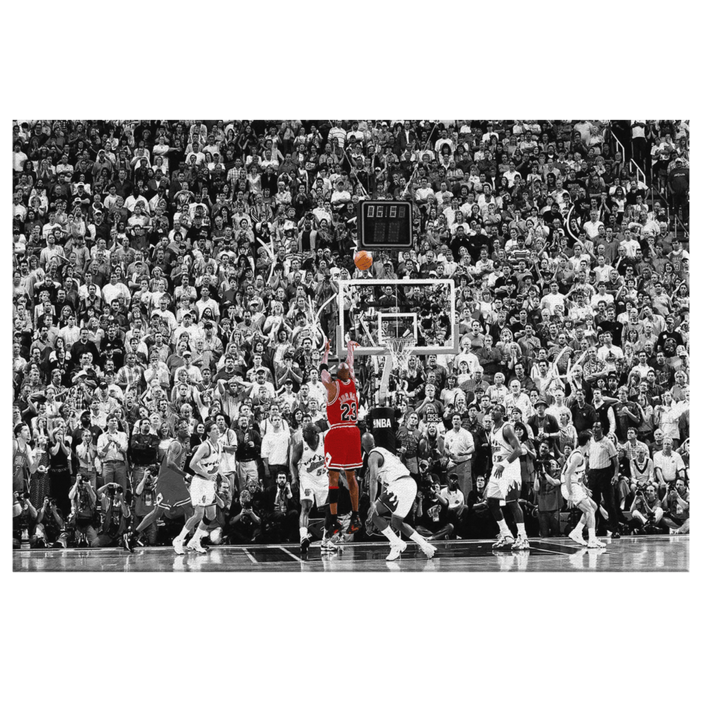 Michael Jordan Last Game Chicago Bulls Commemorative NBA Basketball Photo Print on Framed Canvas Wall Art  | Sports Decor Game Room Basketball Fan Gift for Fathers Day