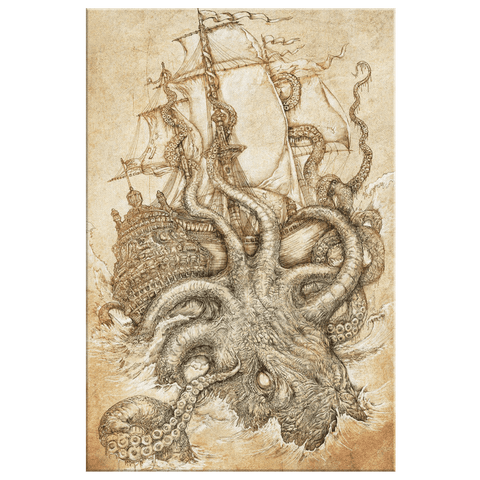 Vintage Nautical Decor Kraken Sea Creature Pirate Sailor Ancient Seafaring Art Print on Framed Canvas Wall Print