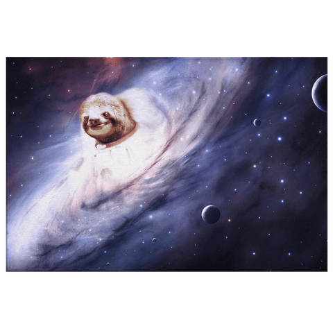 Astronaut Sloth in Space Galaxy Canvas Wall Art Print | Cute Funny Animal Art Decor