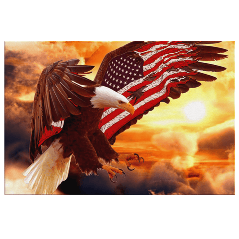 American Bald Eagle Patriotic USA Flag | Framed Canvas Wall Hanging Painting Wall Art for American Patriot