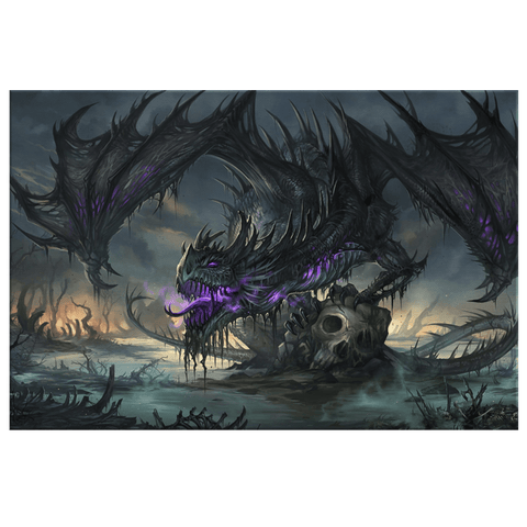 Undead Black Dragon Wall Art Print on Framed Canvas | Zombie Dragon
