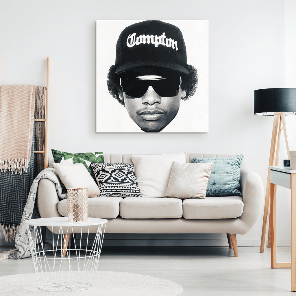 Rapper Eazy E Straight Facing Wallpaper Framed Canvas Photo Print