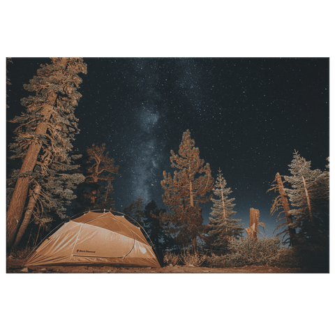A Beautiful Camping Tent in Forest Framed Canvas Photo Print