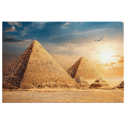 Ancient Egyptian Pyramids Wall Art Print on Framed Canvas Photo Print | Great Pyramid Painting at Giza, Cairo, Egypt