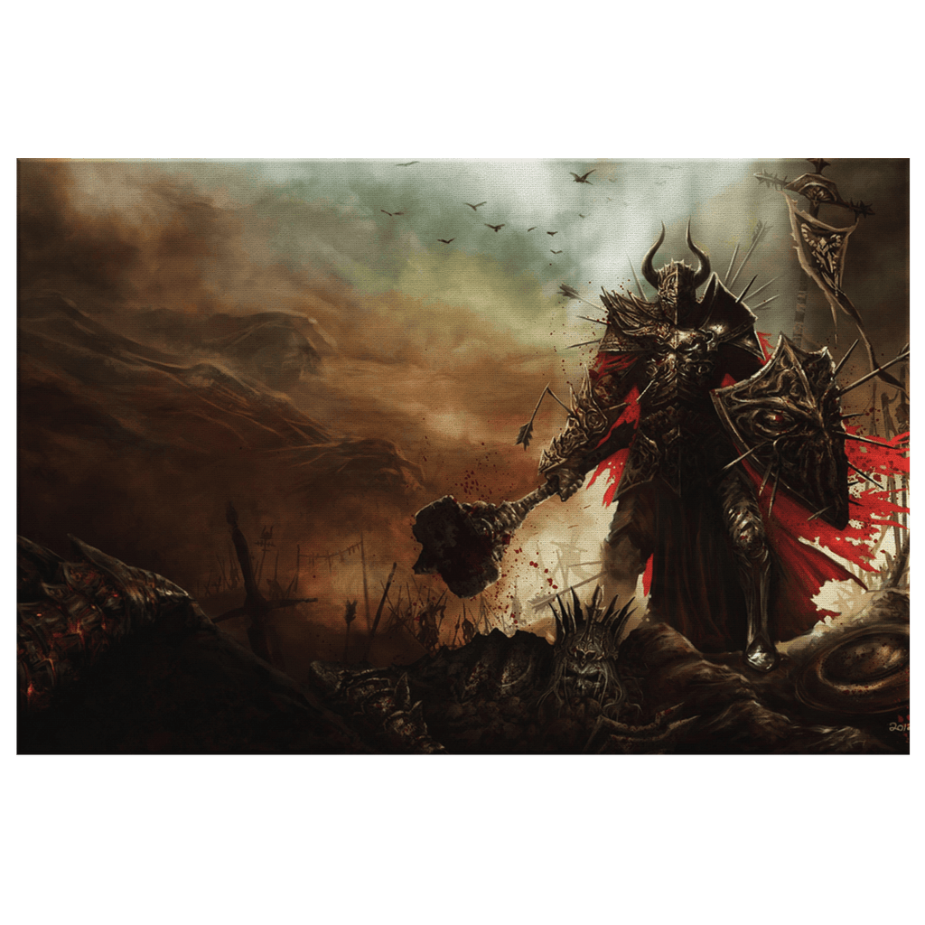 Elder Scrolls Fantasy Dark Warrior Knight Art Print on Framed Canvas Wall Hanging | Video Game Room Decor Gamer Fan Gift