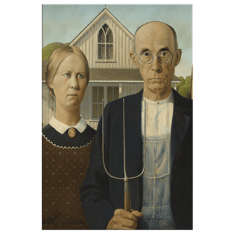 American Gothic Painting by Grant Wood Art Print on Framed Canvas Wall Hanging | Classical Painting Home Art Gallery Decor