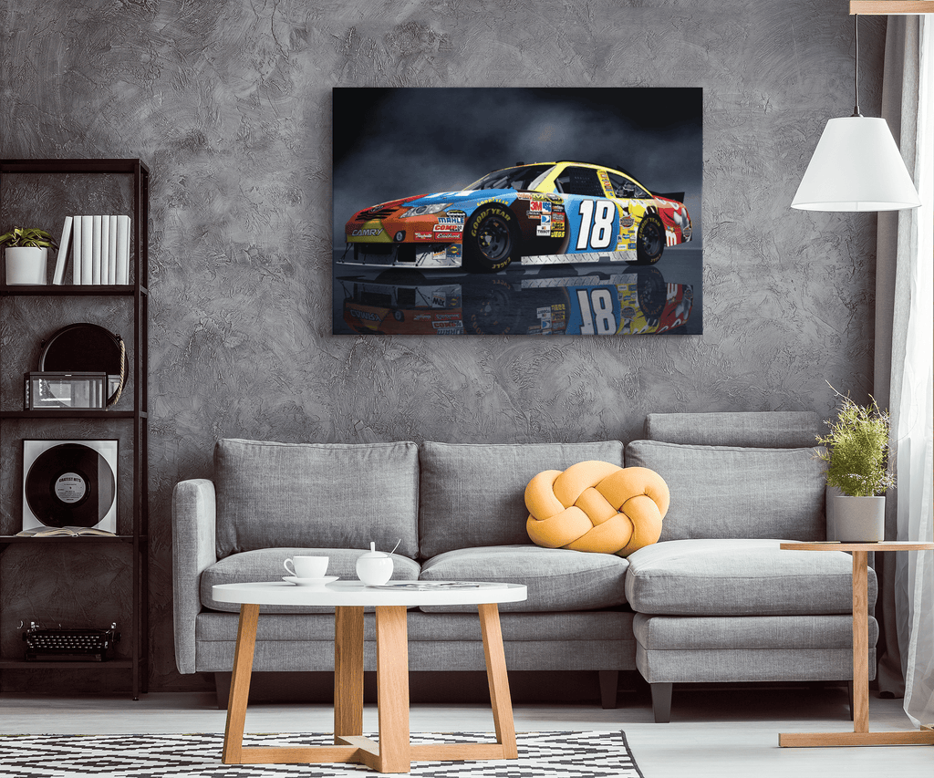 Nascar Racing Kyle Busch Race Car 18 Framed Canvas Photo Print Wall Art | Garage Decor Racing Gift