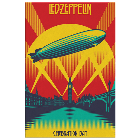 Led Zeppelin Vintage Concert Poster Art Print on Framed Canvas Wall Art | Classic Rock Music Decor
