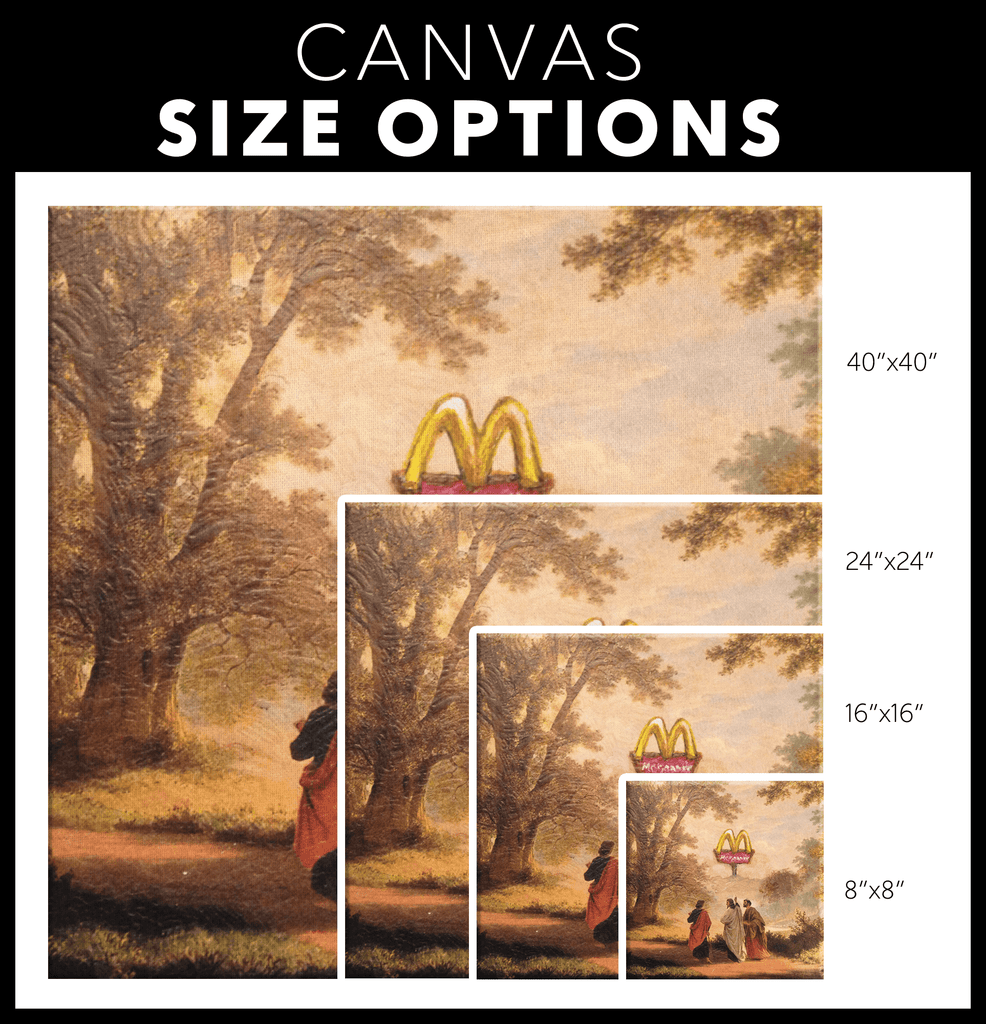 Funny Jesus and Apostles McDonald's Painting Framed Canvas Wall Art | Religious Art Parody