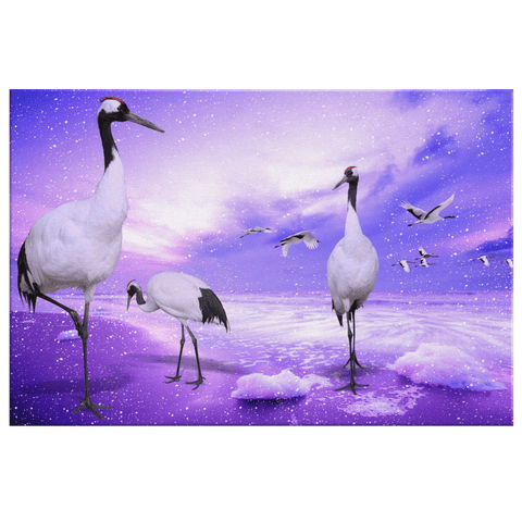 Mystical Cranes in Beautiful Purple Sky on Framed Canvas Wall Art Print | Red Crowned Cranes Japanese Birds in Fantasy Nature Painting