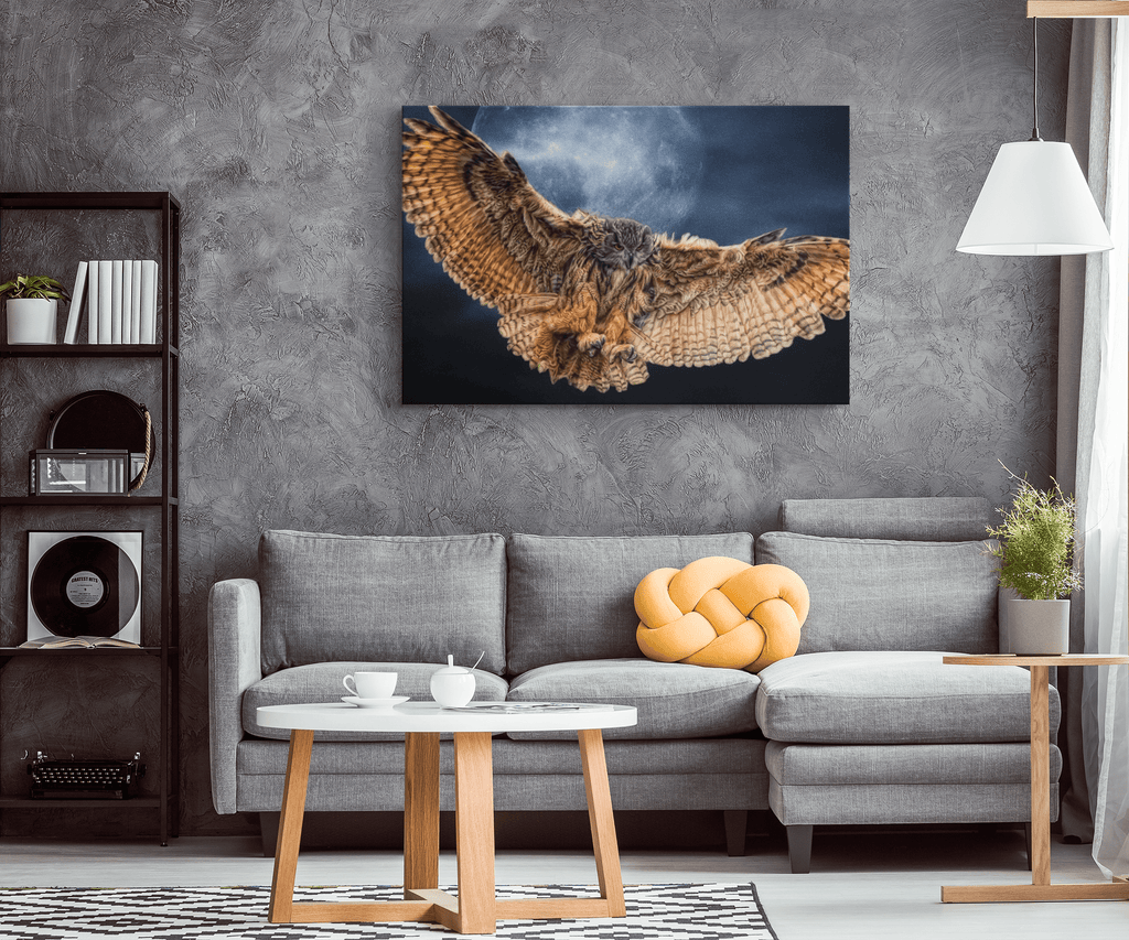 Brown Owl & Moon Bird Of Prey Wingspan Framed Canvas Art Print Wall Hanging | Night Owl Photo Print Decor