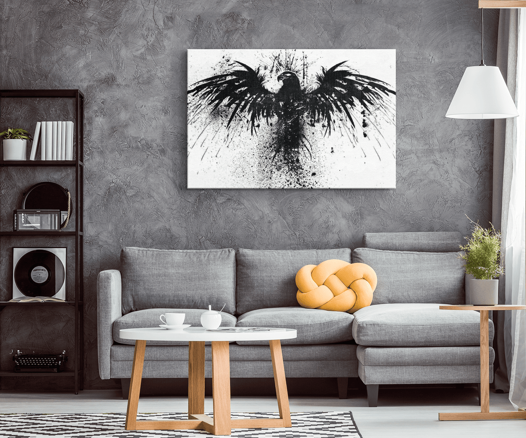 Ink Splash Raven Wall Art Canvas Print
