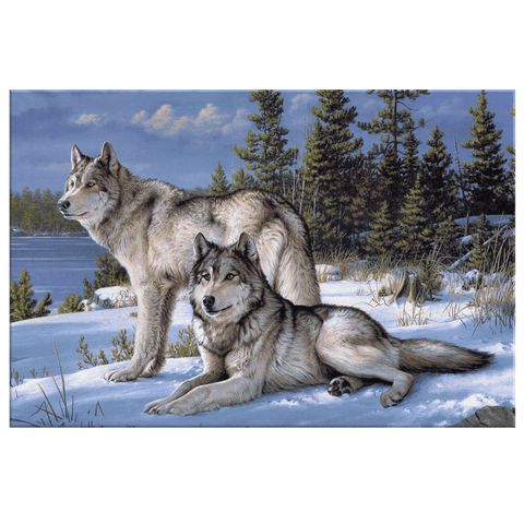 Blue Wolf in Snow Painting Framed Canvas Wall Art