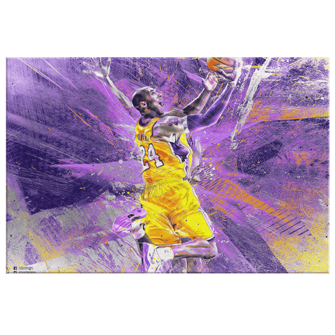 Kobe Bryant Fan Art Tribute Painting on Framed Canvas Wall Art Print | Kobe Bryant Decor