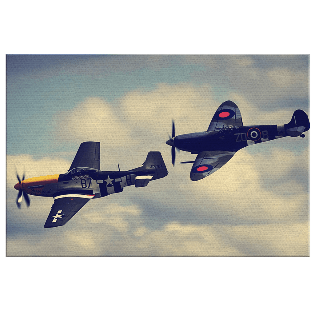 Mustang and Spitfire Flying Aircraft Framed Canvas Wall Art