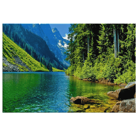 Green Forest Reflection on Mountain Lake Nature Framed Canvas Photo Print Wall Art