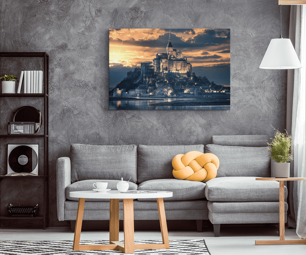 Beautiful French Castle on Mont Saint Michel Sunset on Framed Canvas Photo Print | France Heritage Wall Art