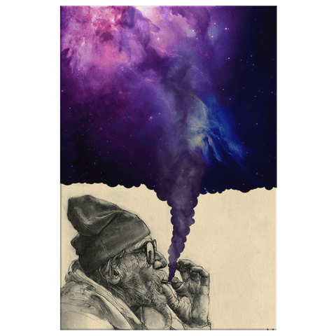 Psychedelic 420 Blunt Smoke Galaxy Space Painting Art Print on Framed Canvas Marijuana Weed Smoking Exhaling Milky Way Nebula