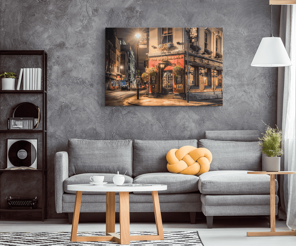 The Glass Blower Brewer Pub Framed Canvas Wall Art Print | Vintage London Street Painting