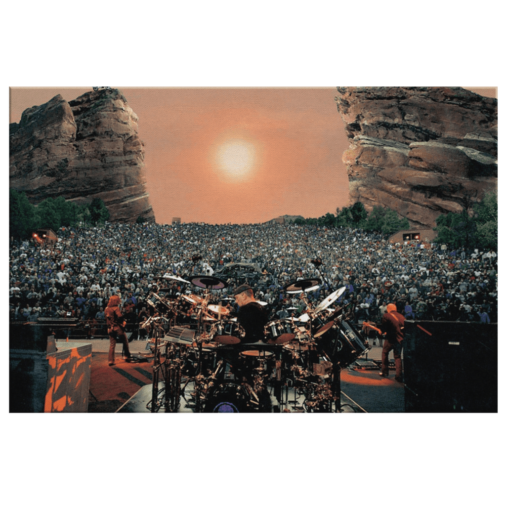 Rush Concert at Red Rocks Ampitheatre Alex Lifeson Geddy Lee Neil Peart Framed Canvas Photo Print | Classic Rock Decor Fan Gift