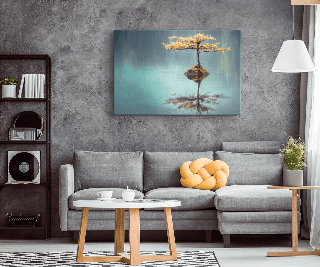 Zen Tree in Lake Pond Serenity Nature Spa Decor Calming Wall Art Print on Framed Canvas